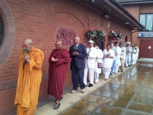 Walking around the Buddha Vihara